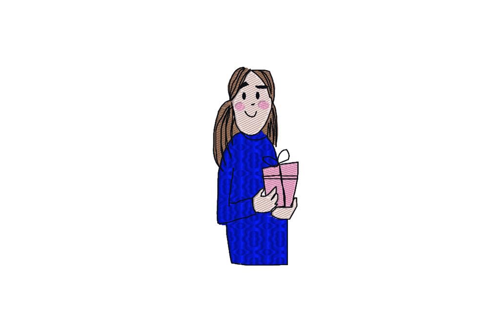 - girl present 1 - Mädchen mit Geschenk