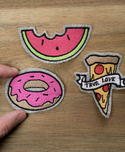 embroidery design pizza donut melon