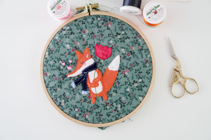 machine embroidery pattern fox applique design ith