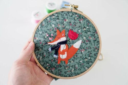 embroidery fox applique design ith