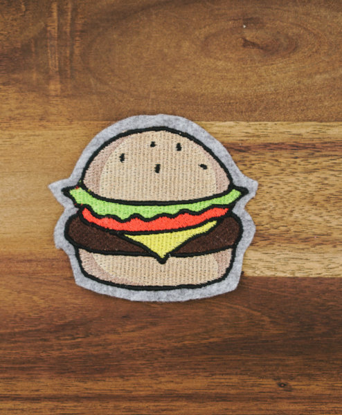 machine embroidery design cheeseburger
