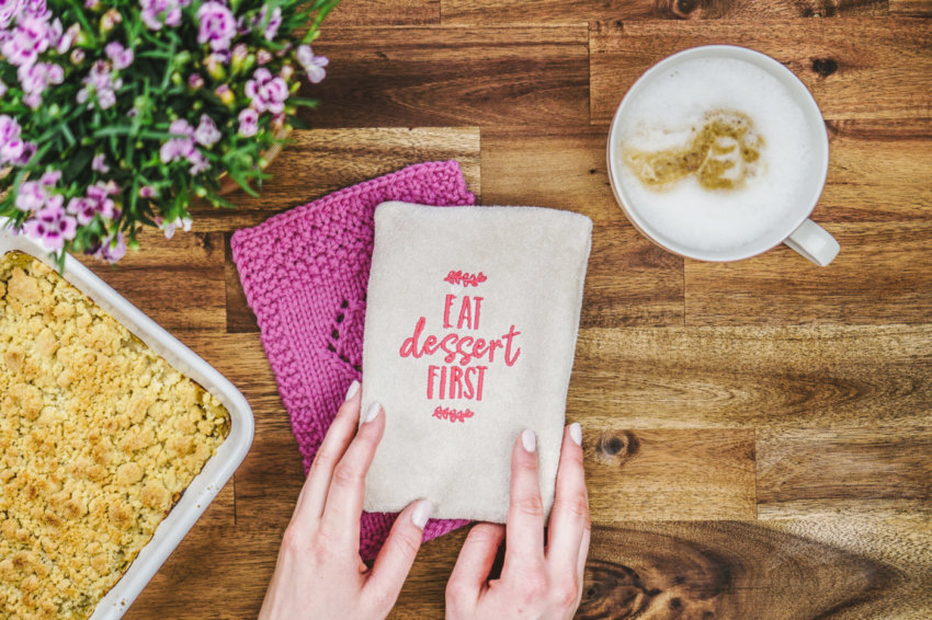 machine embroidery design »eat dessert first«