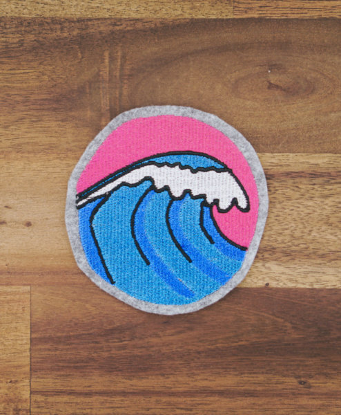 Machine embroidery design wave