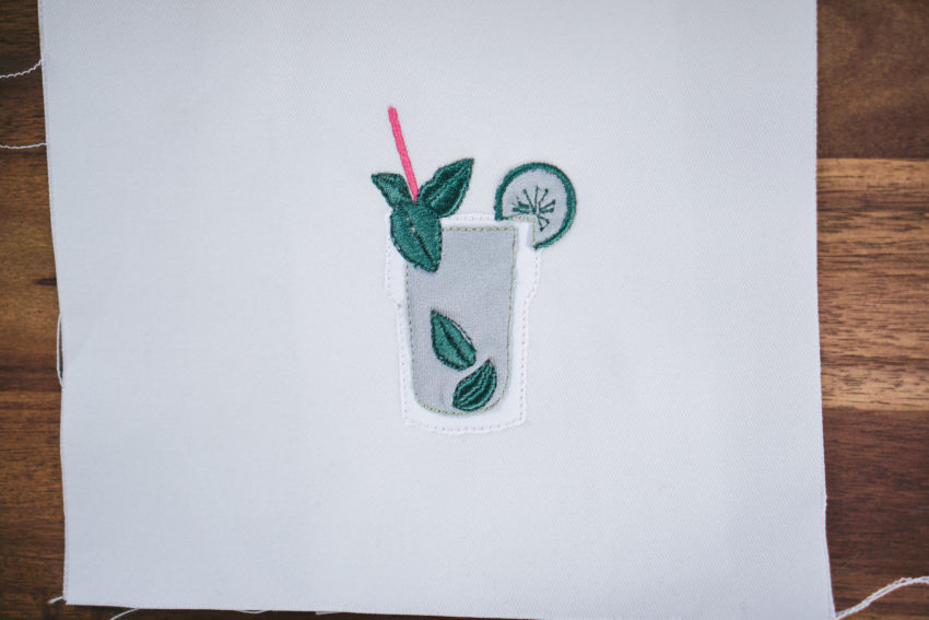 mojito embroidery design (example of application)