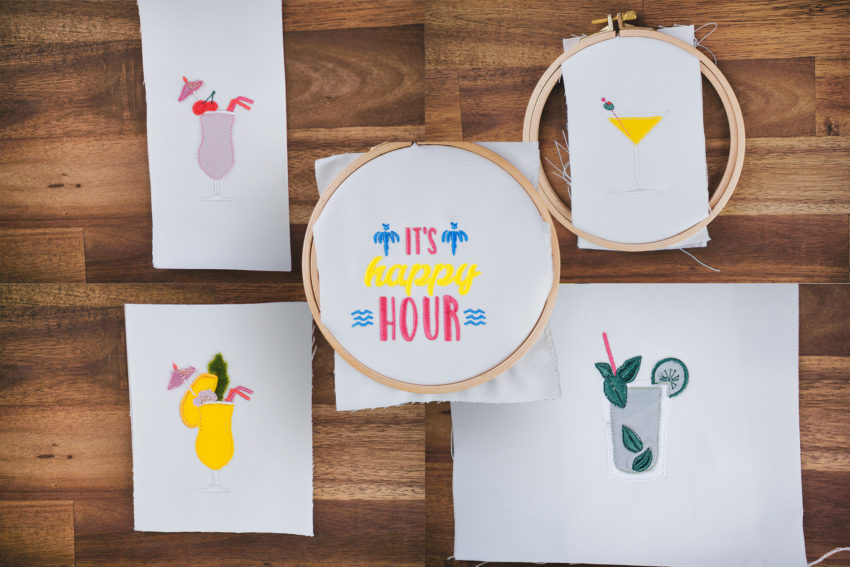 machine embroidery designs cocktail