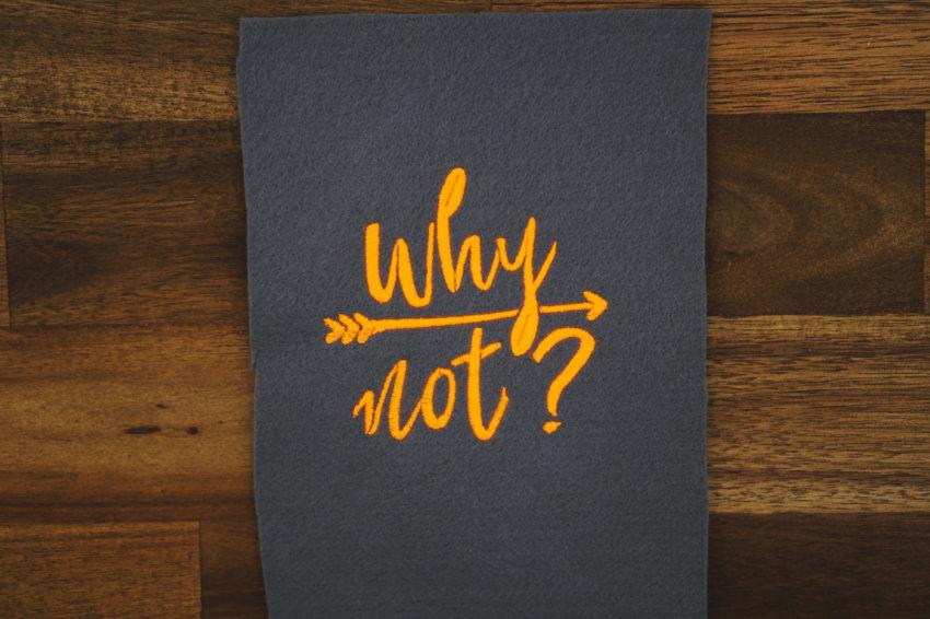 Stickdatei Schriftzug Why not?