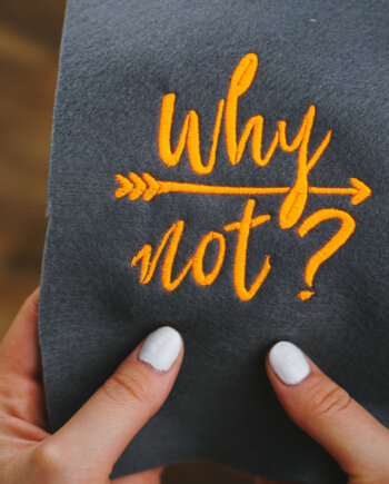 Handlettering Stickdatei »Why not?«