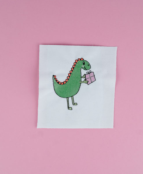 Stickdatei Dino mit Geschenk machine embroidery cow designs dinosaur with present stickdatei dinosaurier 011 494x600