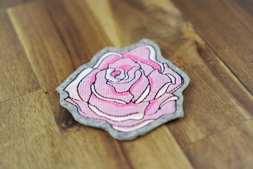 rose embroidery design (example of application)