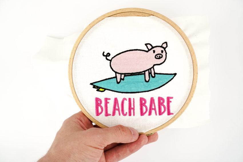 Stickdatei Schwein Surfing