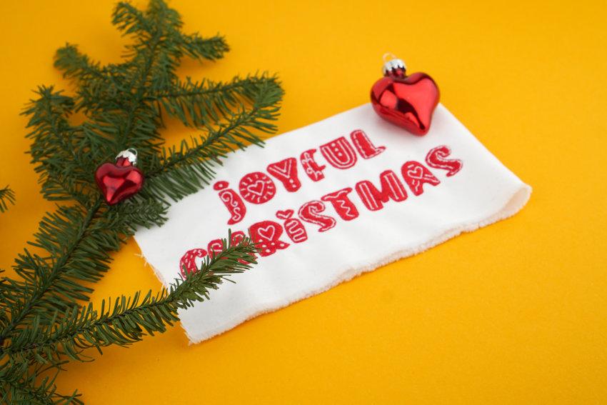 Anwendungsbeispiel: Stickdatei Weihnachten / Joyful Christmas