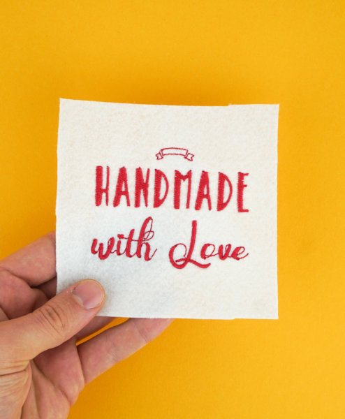 Stickdatei Handmade with Love, Anwendungsbeispiel