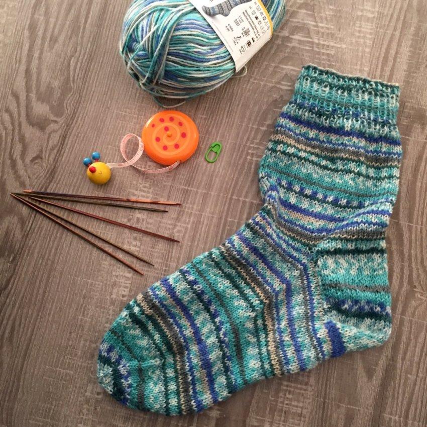 Diese erste Socken hat Sandra nach dem »Sockenworkshop« gestrickt