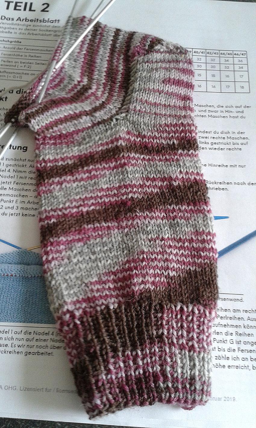In 3 Teilen werden die Socken im »Workshop« gestrickt. Hier hat Petra gerade den zweiten Teil fertig.
