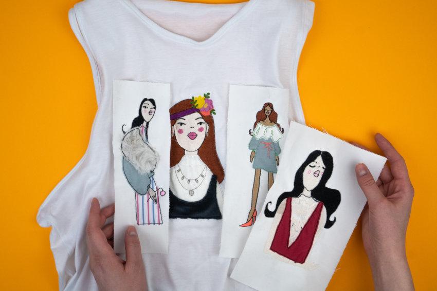 Exemplare der Stickdatei Fashionistas I-IV