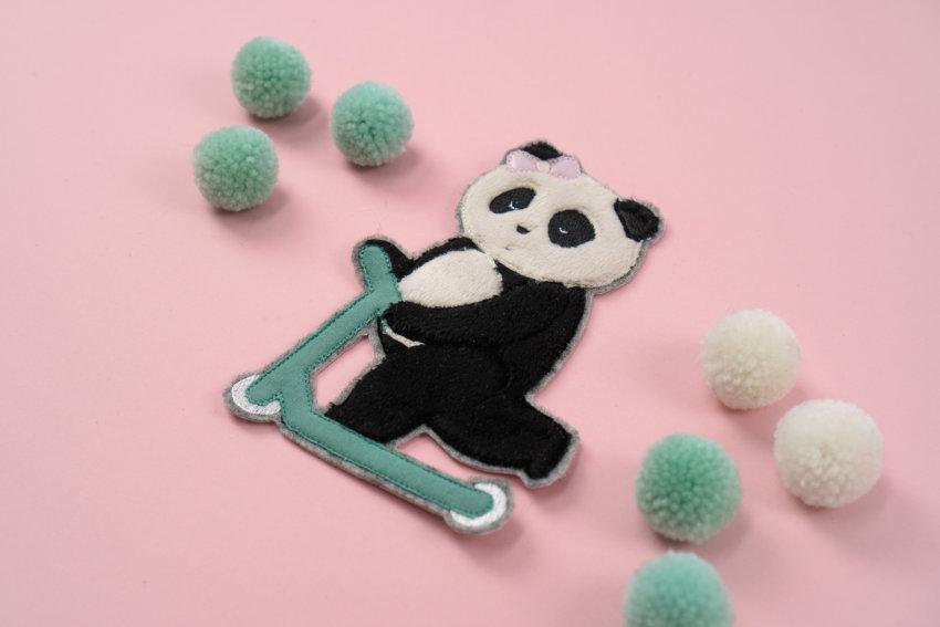 Stickdatei Panda auf Roller