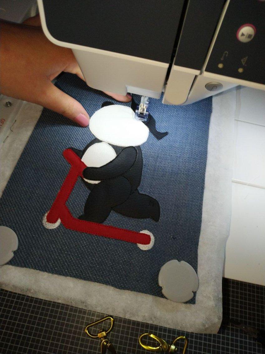 Stickdatei Panda in Stickmaschine
