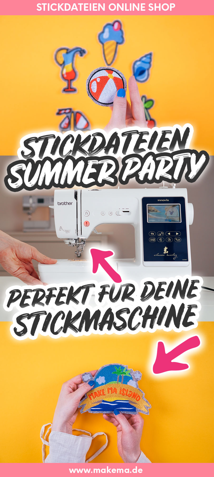 Stickdateien Sommer für Brother, Bernina, Singer, Pfaff, W6