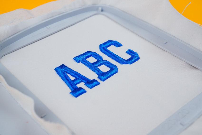 Stickdatei Alphabet 3D sticken (Anwendungsbeispiel)