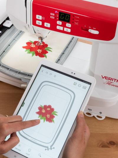Stickmaschine APP: Steuerung mit Tablet oder Smartphone auf der VERITAS FLORENCE